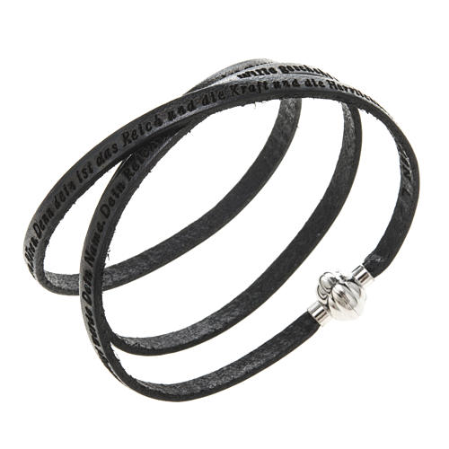 Amen Bracelet in black leather Our Father GER 1