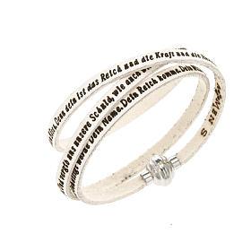 AMEN bracelets: Amen Bracelet in white leather Our Father GER