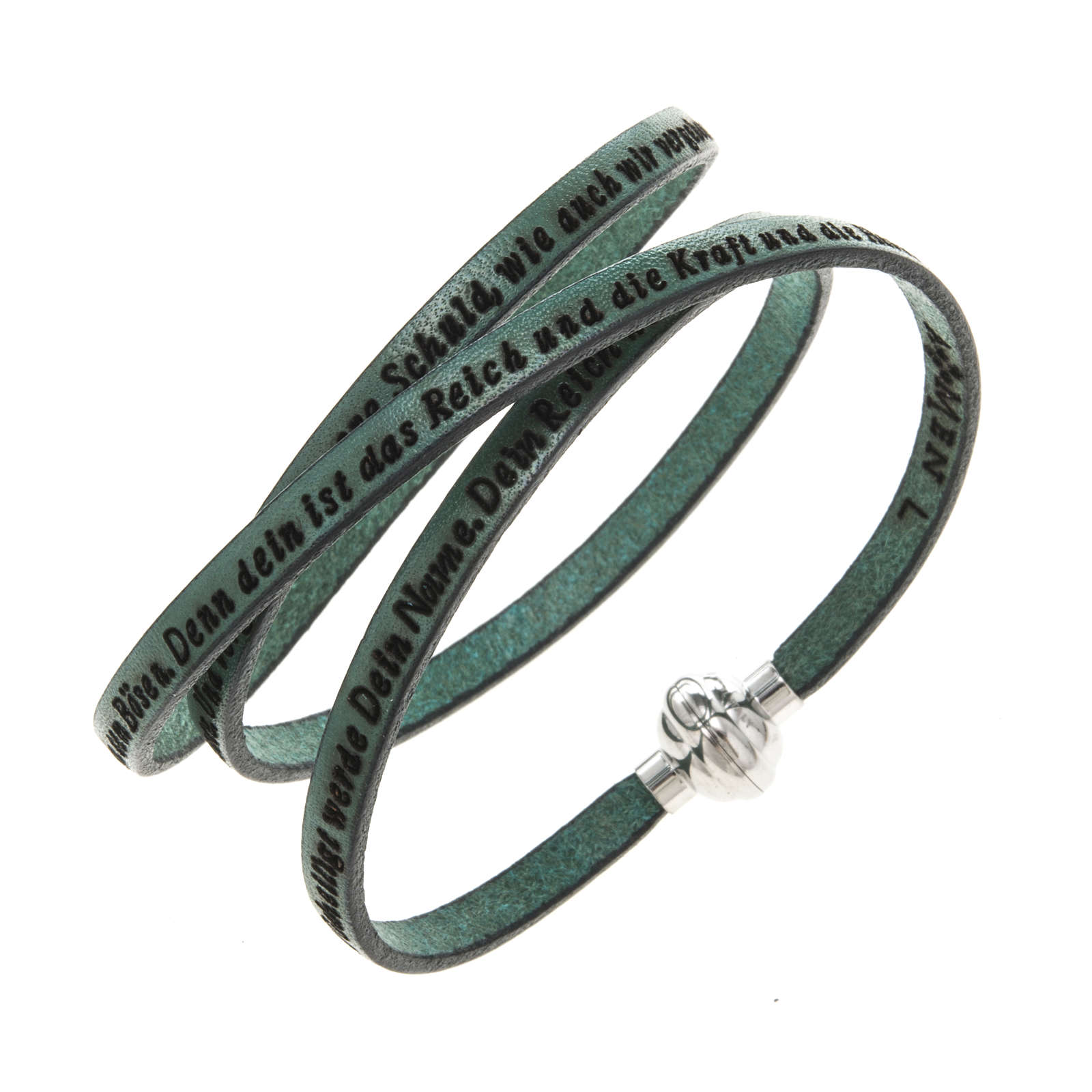Amen Bracelet in green leather Our Father GER 4