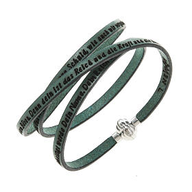 Amen Bracelet in green leather Our Father GER s1