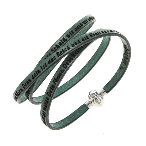 Amen Bracelet in green leather Our Father GER 1
