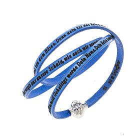 AMEN bracelets: Amen Bracelet in blue leather Our Father GER
