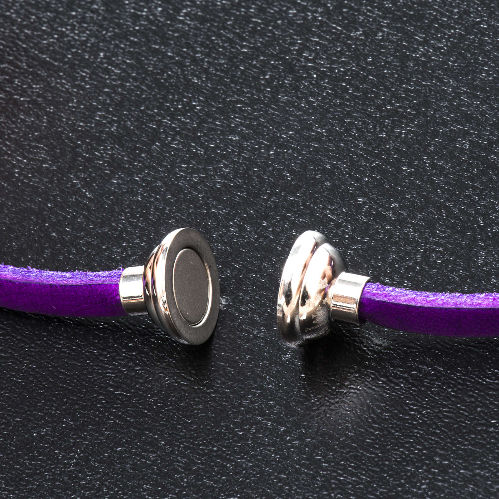 Amen Bracelet in purple leather Our Father GER 4