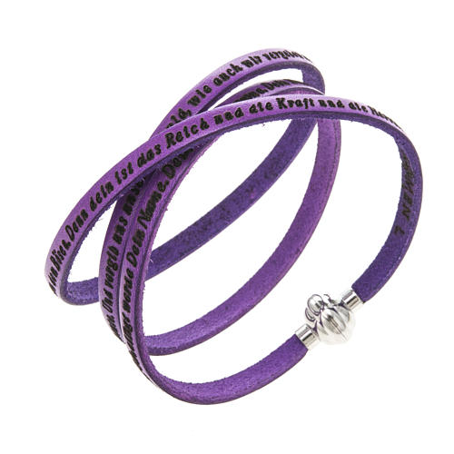 Amen Bracelet in purple leather Our Father GER 1