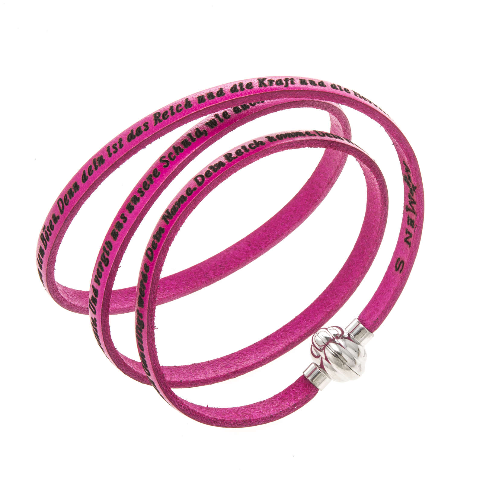 Amen Bracelet in fuchsia leather Our Father GER 4