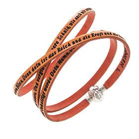 AMEN bracelets: Amen Bracelet in orange leather Our Father GER