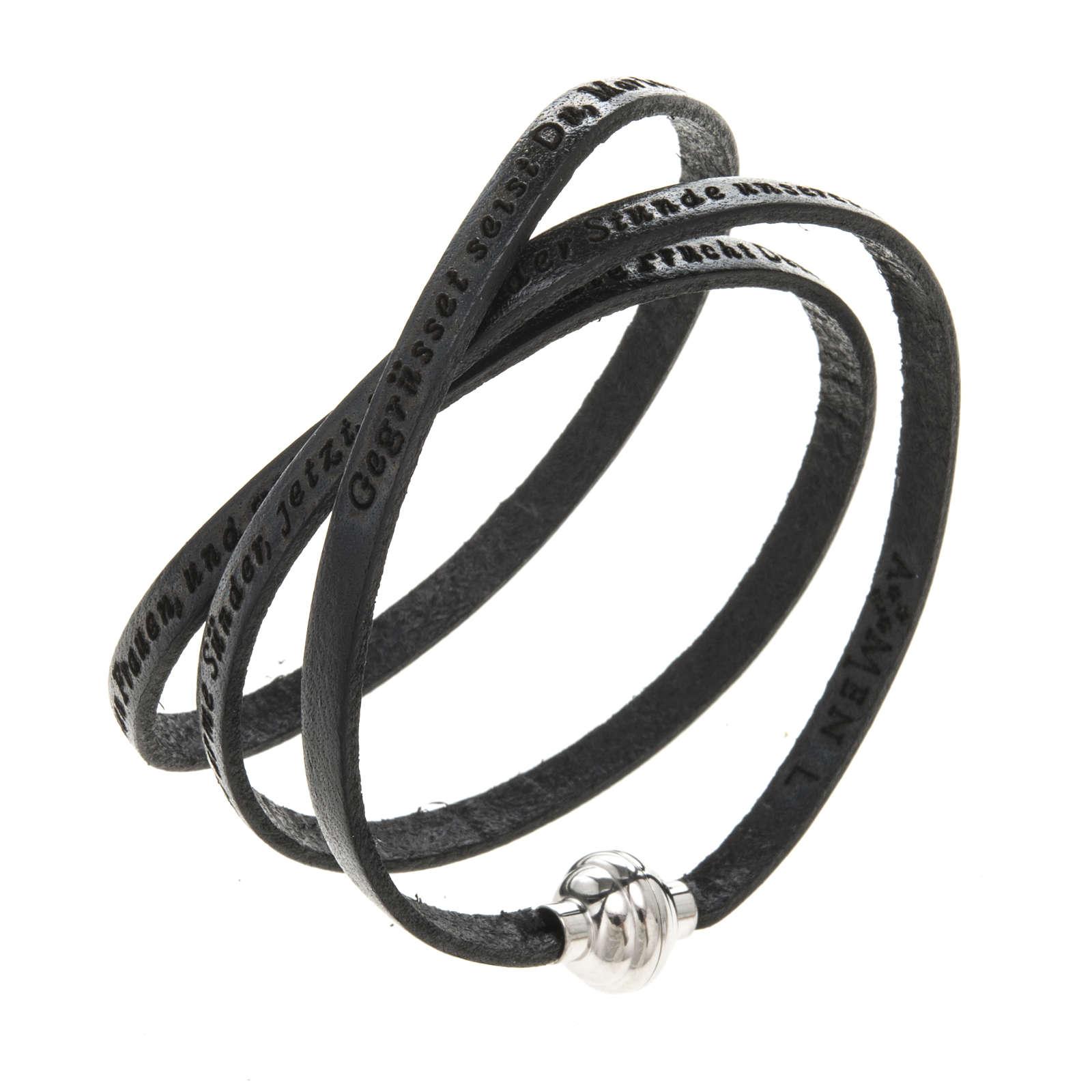 Amen Bracelet in black leather Hail Mary GER 4