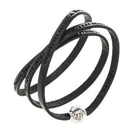 AMEN bracelets: Amen Bracelet in black leather Hail Mary GER
