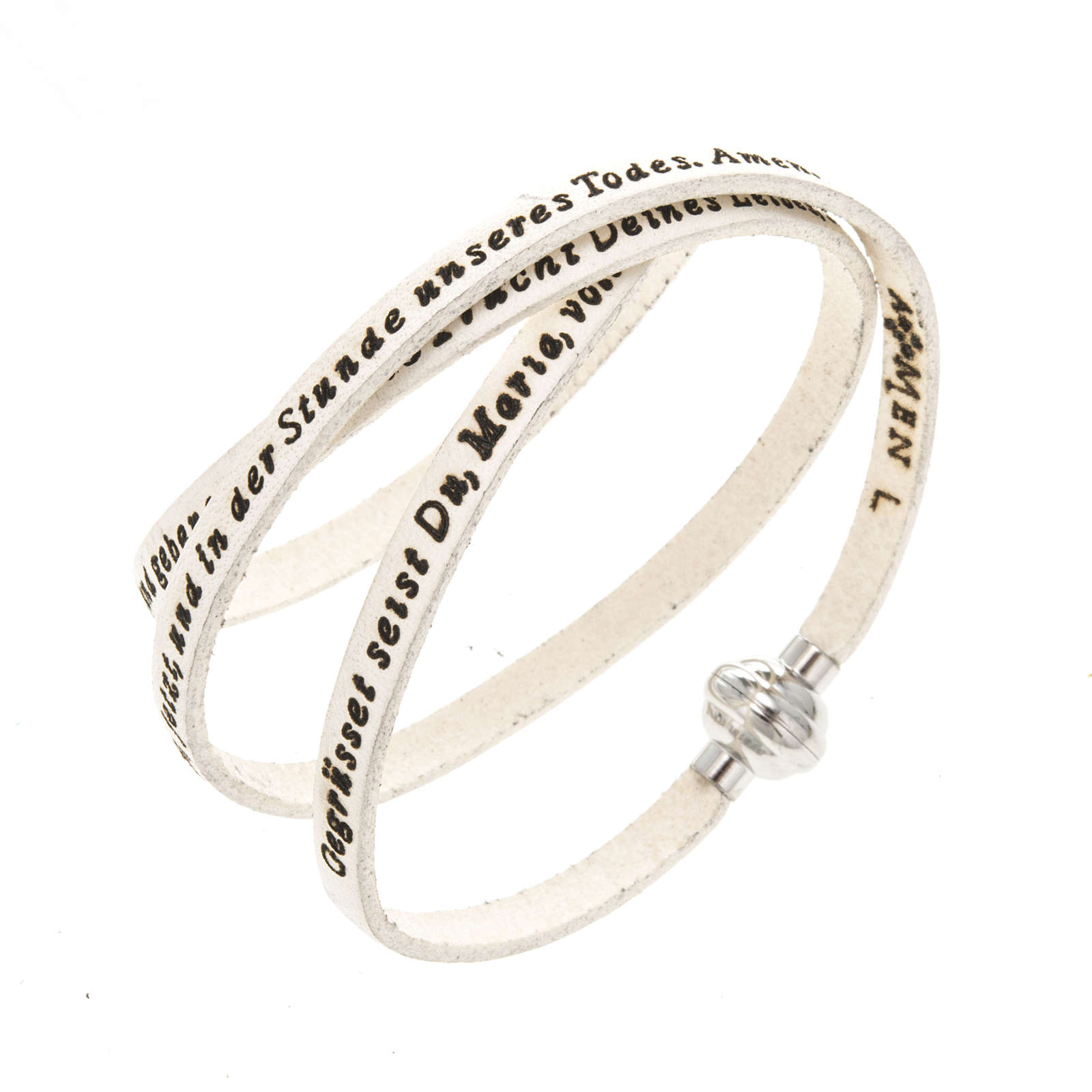 Amen Bracelet in white leather Hail Mary GER 4