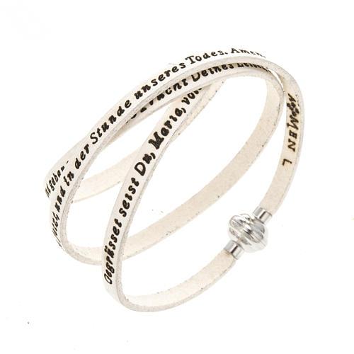 Amen Bracelet in white leather Hail Mary GER 1