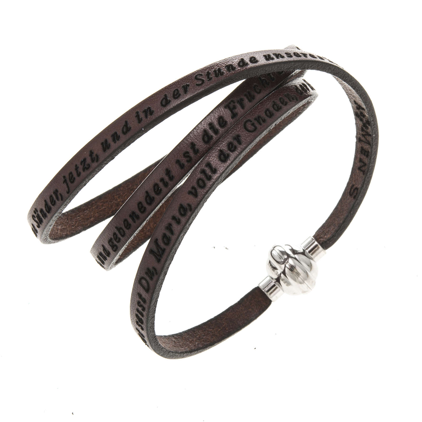Amen Bracelet in brown leather Hail Mary GER 4