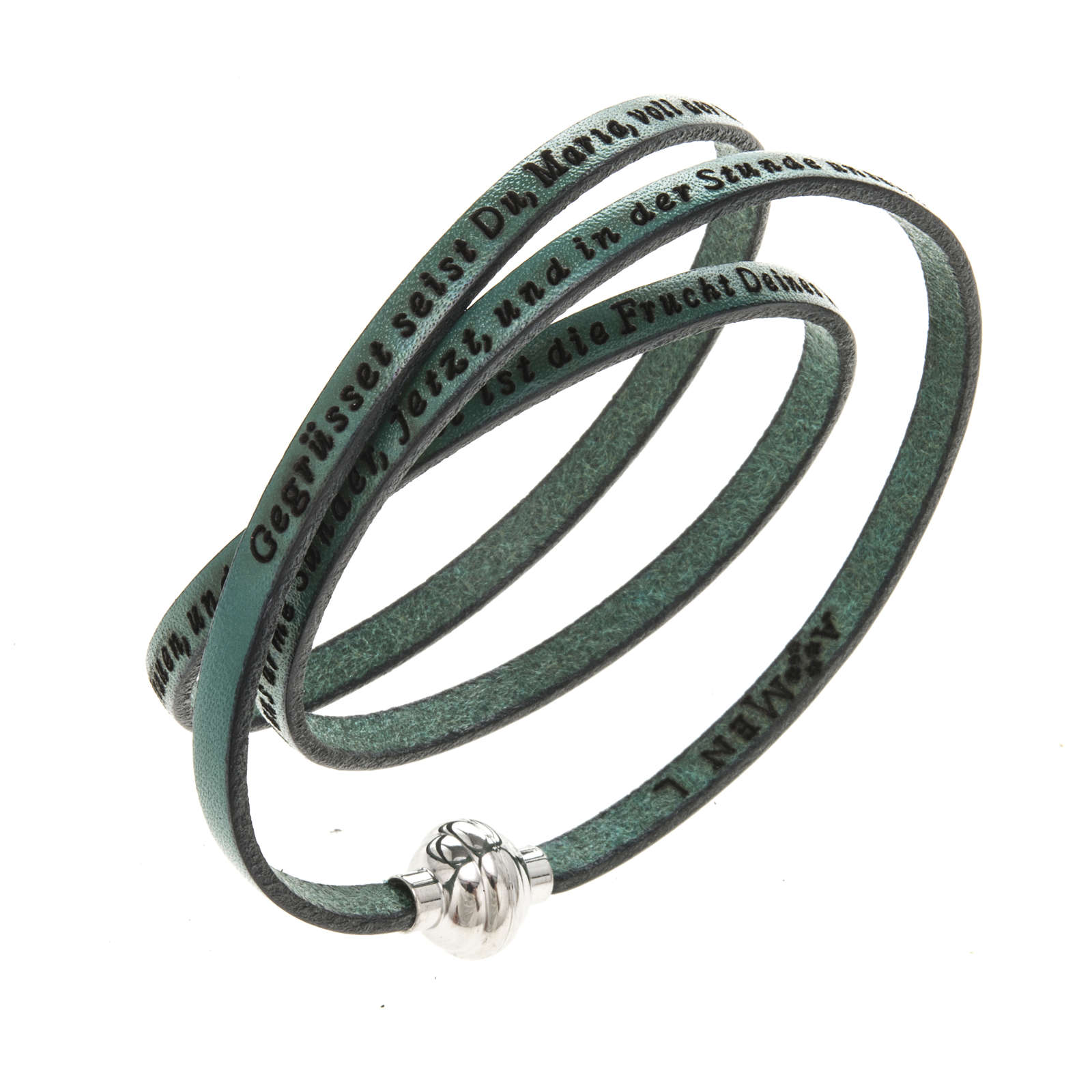 Amen Bracelet in green leather Hail Mary GER 4