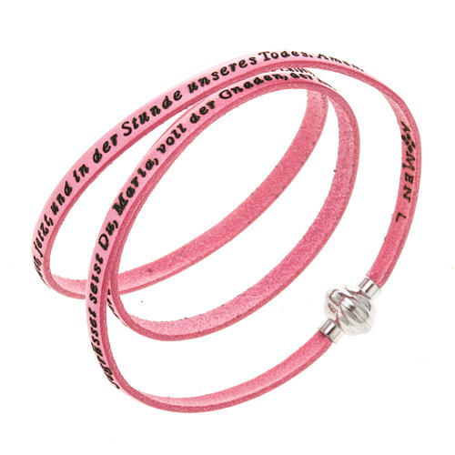 Amen Bracelet in pink leather Hail Mary GER 1