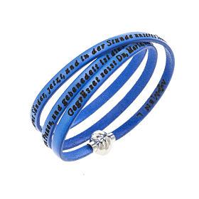 AMEN bracelets: Amen Bracelet in blue leather Hail Mary GER