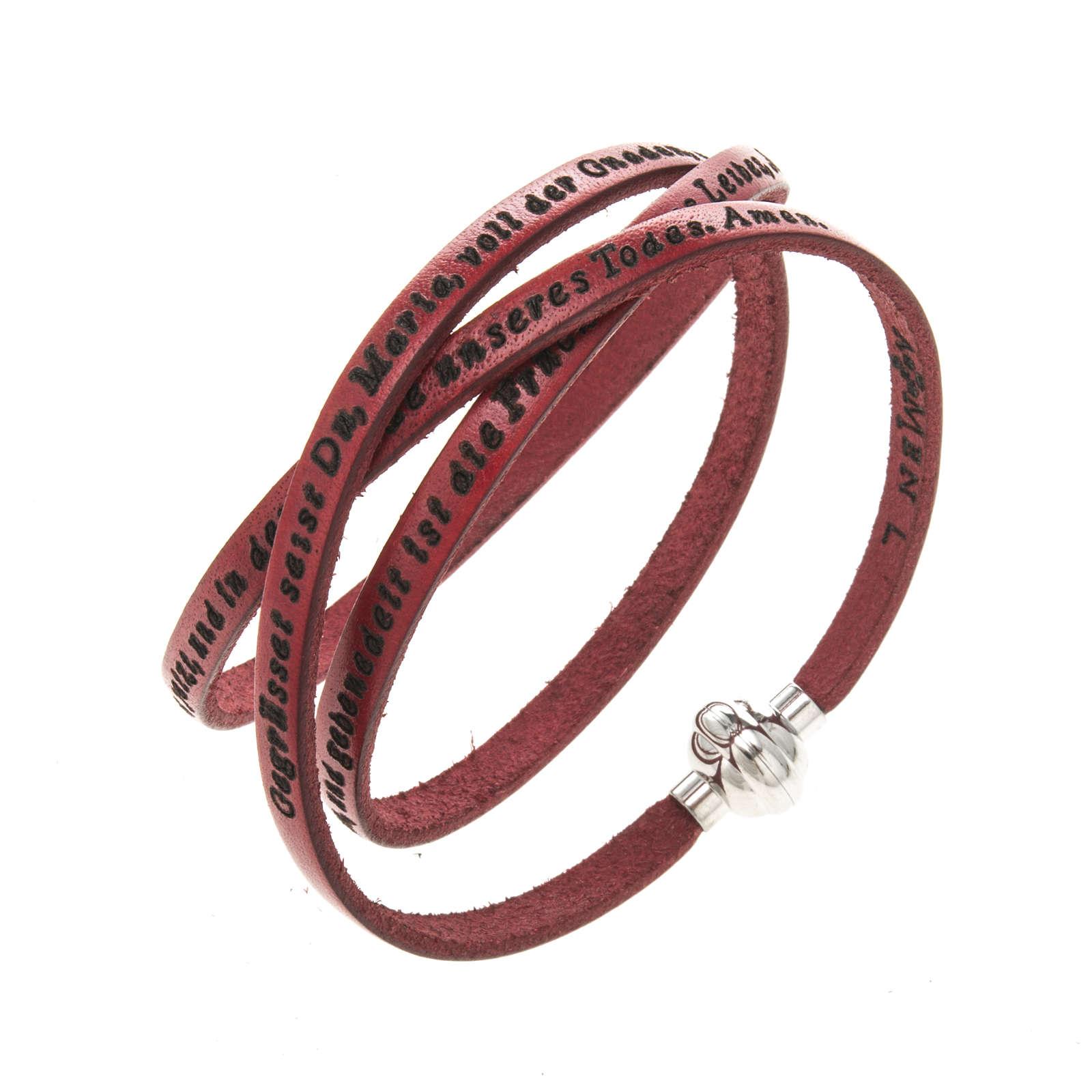 Bracelet Amen Je Vous Salue Marie rouge ALL 4
