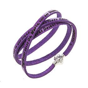 AMEN bracelets: Amen Bracelet in purple leather Hail Mary GER