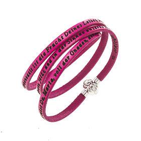 AMEN bracelets: Amen Bracelet in fuchsia leather Hail Mary GER