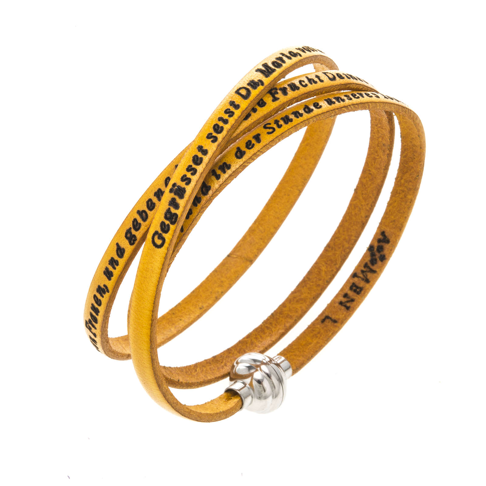 Amen Bracelet in yellow leather Hail Mary GER 4