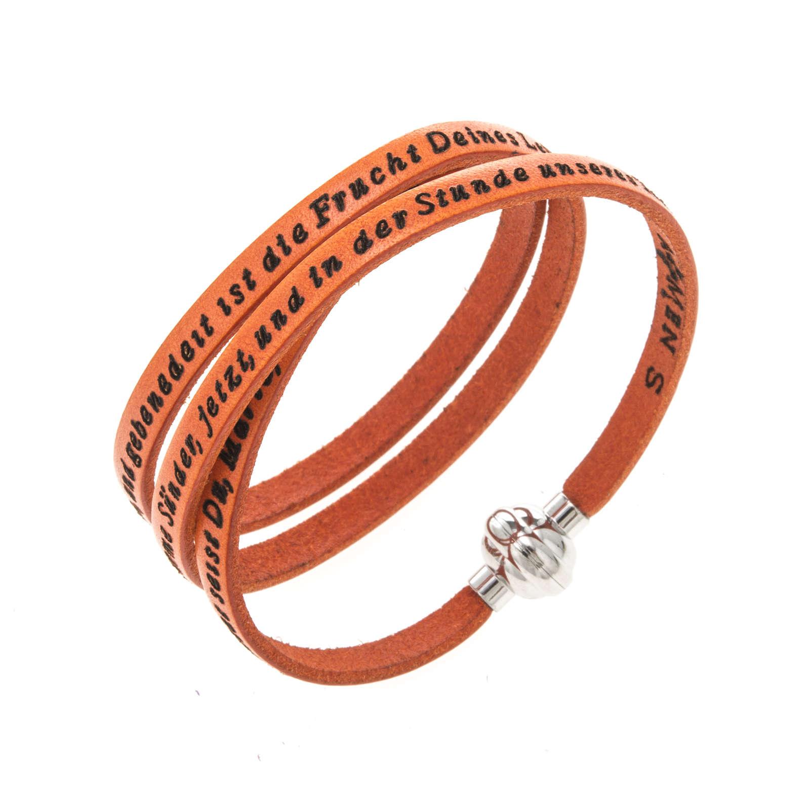 Amen Bracelet in orange leather Hail Mary GER 4