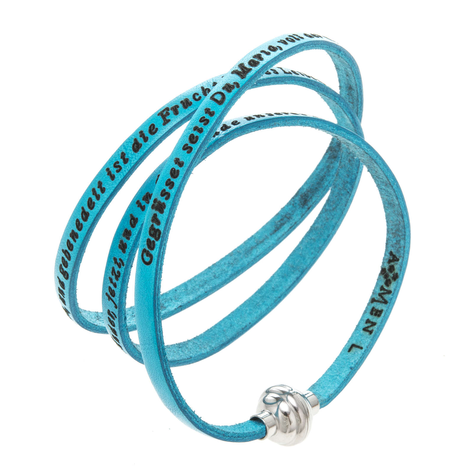 Amen Bracelet in turquoise leather Hail Mary GER 4