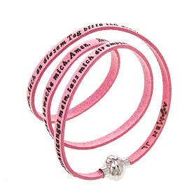 AMEN bracelets: Amen Bracelet in pink leather Guardian Angel GER