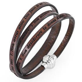 AMEN bracelets: Amen bracelet, Ten Commandments in Italian, brown