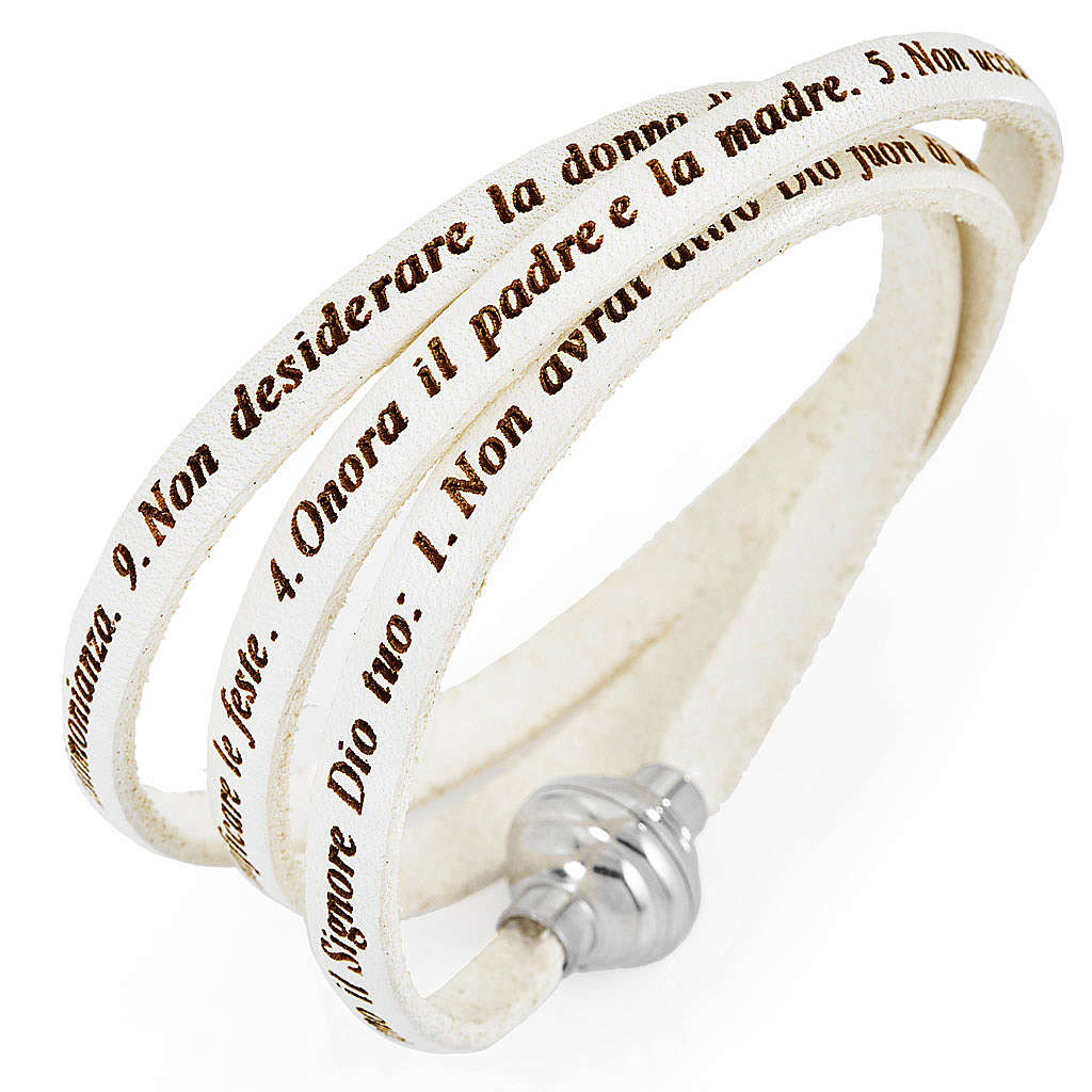 Amen bracelet, Ten Commandments in Italian, white 4