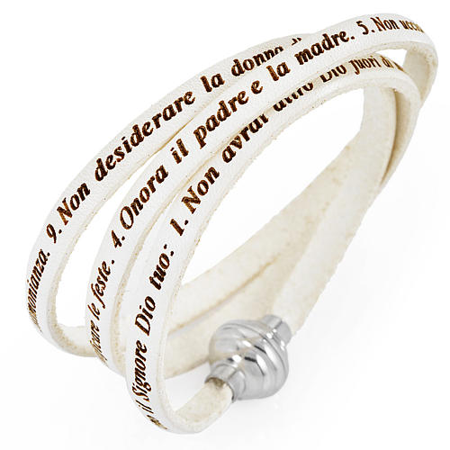 Amen bracelet, Ten Commandments in Italian, white 1