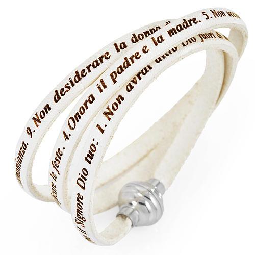 Amen bracelet, Ten Commandments in Italian, white 1