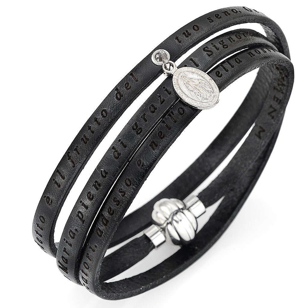 Bracelet Amen Je vous salue Marie pendentif Vierge noir ITA 4
