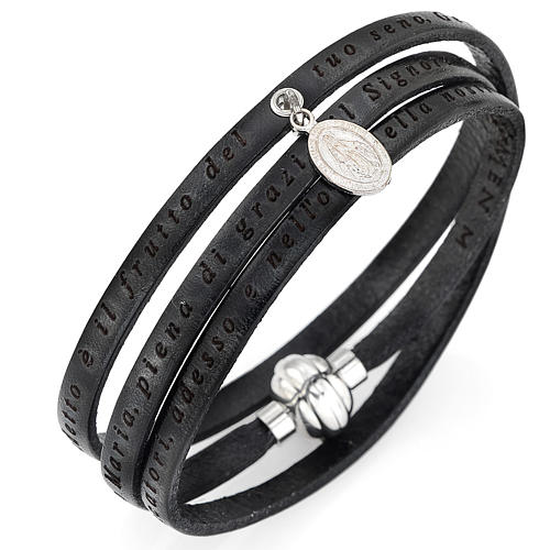 Bracelet Amen Je vous salue Marie pendentif Vierge noir ITA 1