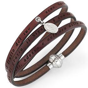Bracelet Amen Je vous salue Marie pendentif Vierge marron ITA s1