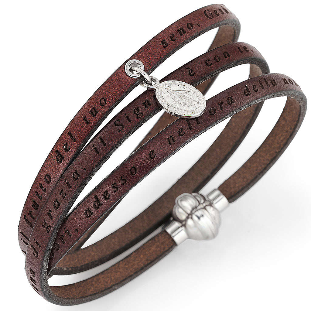 Amen bracelet, Hail Mary in Italian, brown with charm of Our Lad 4