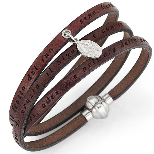 Amen bracelet, Hail Mary in Italian, brown with charm of Our Lad 1