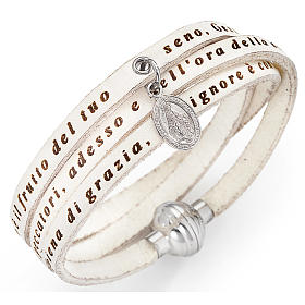 Amen bracelet, Hail Mary in Italian, white with charm of Our Lad s1