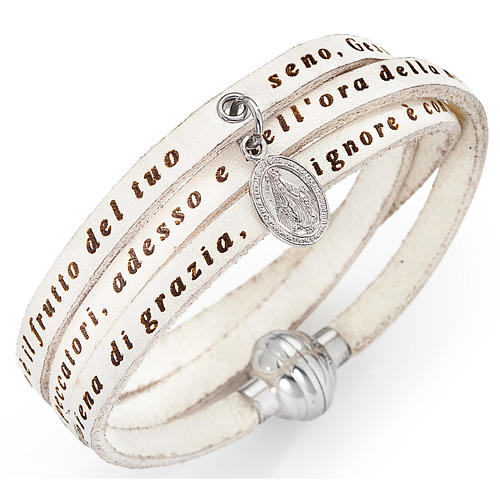 Amen bracelet, Hail Mary in Italian, white with charm of Our Lad 1