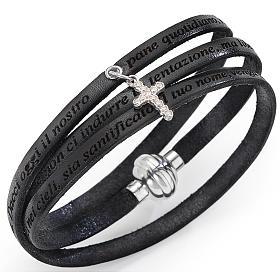 Bracelet Amen Notre Père breloque croix noir ITA s1