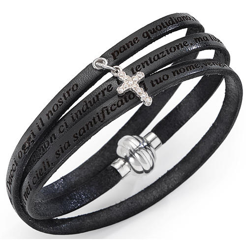 Bracelet Amen Notre Père breloque croix noir ITA 1