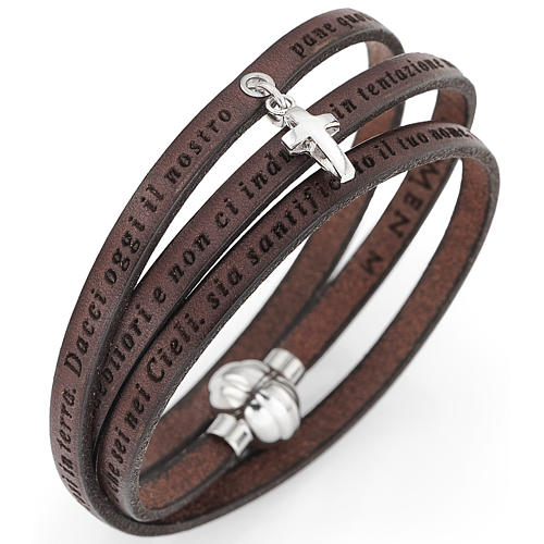 Amen bracelet, Our Father in Italian, brown with cross charm 2