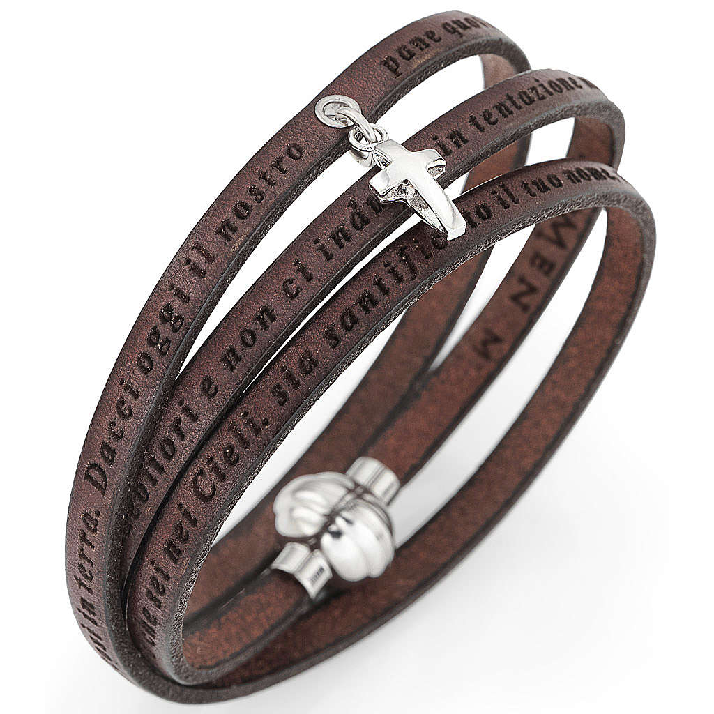 Amen bracelet, Our Father in Italian, brown with cross charm 4
