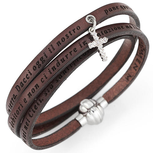 Amen bracelet, Our Father in Italian, brown with cross charm 1
