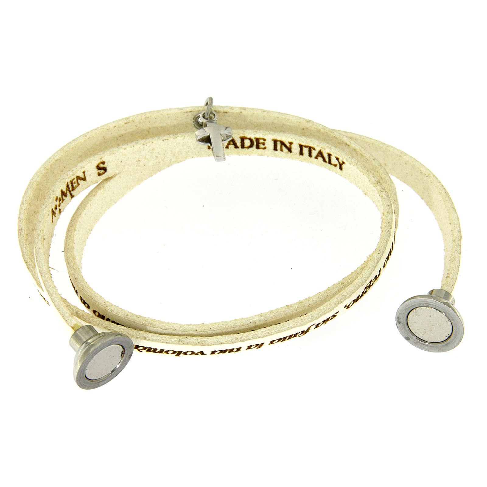 cba2a829c838 Pulsera AMEN Padre Nuestro colgante cruz blanco ITALIANO 4