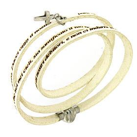 AMEN bracelets: Amen bracelet, Our Father in Italian, white with cross charm