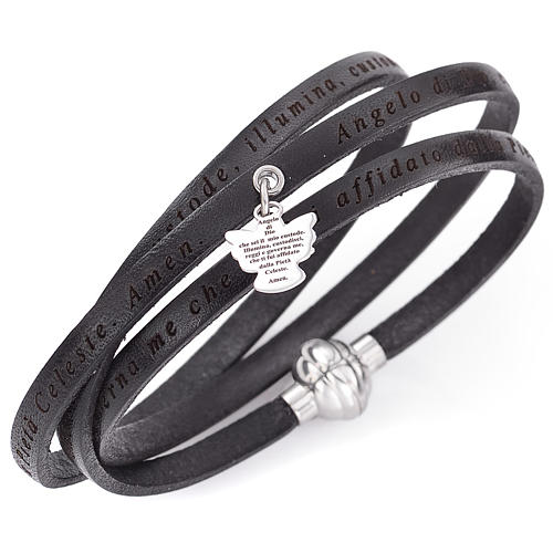 Amen bracelet, Agnus dei in Italian, black with charm 1