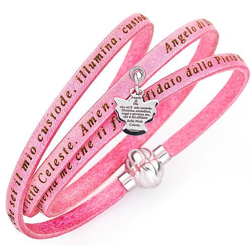 Amen bracelet, Angel of God in Italian, pink charm 1