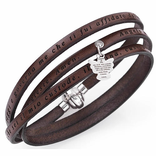 Bracelet Amen Ange de Dieu avec breloque marron ITA 1