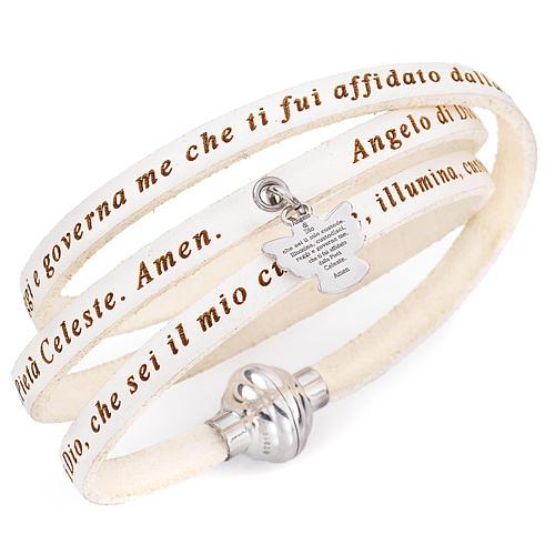 Amen bracelet, Angel of God in Italian, white charm 1