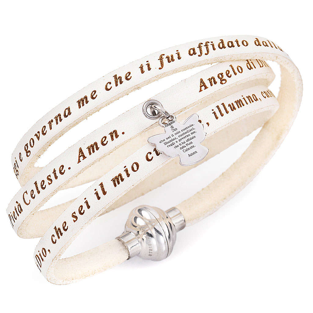 Amen bracelet, Angel of God in Italian, white charm 4