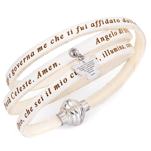 Amen bracelet, Angel of God in Italian, white charm 1
