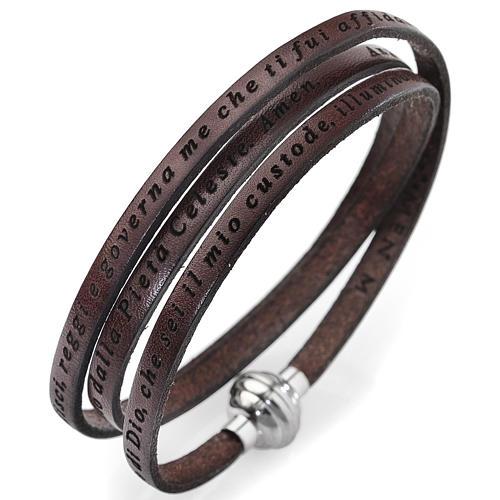 Amen bracelet, Angel of God in Italian, brown 1